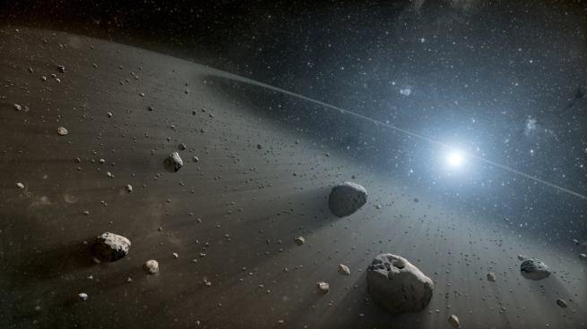 This artist's concept illustrates an asteroid belt around the bright star Vega.  (NASA / JPL-Caltech)