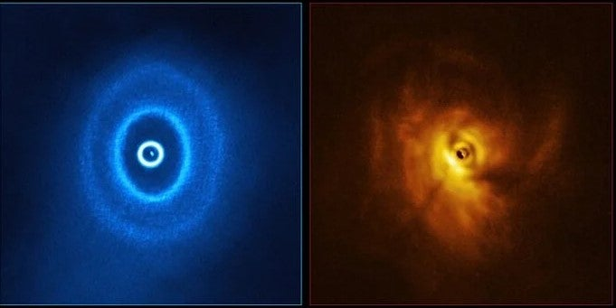 An image of GW Orionis, a triple star system with a mysterious gap in its surrounding dust rings. (ALMA (ESO/NAOJ/NRAO), ESO/Exeter/Kraus et al.)