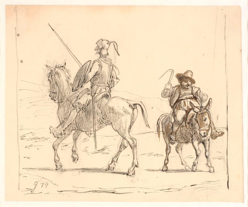 Un viejo dibujo a lápiz de Don Quijote y Sancho Panza sentados en sus caballos, por Wilhelm Marstrand.