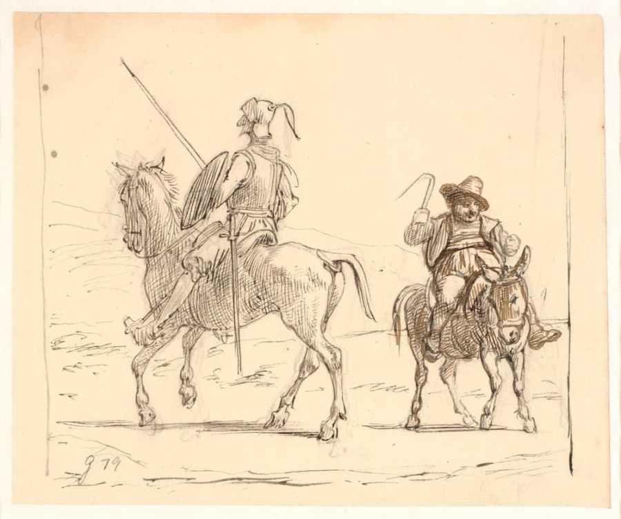Don Chisciotte e Sancio Pancia a cavallo dei propri destrieri, in un vecchio disegno a matita di Wilhelm Marstrand.