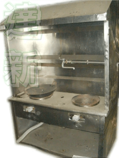 餐飲業用雙口煙罩式快速爐臺-白鐵快速炒臺-雙口快速炒菜爐 (外觀請詳閱圖片)。