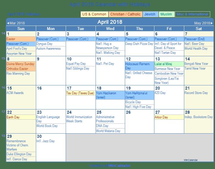 Print Friendly April 2018 US Calendar for printing