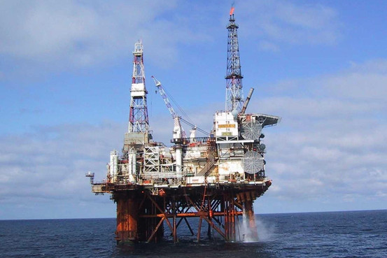 Rig pumping North Sea oil