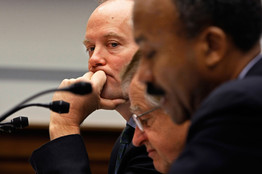 [Former Fannie Mae and Freddie Mac executives testified Tuesday on the companies' roles in the financial crisis. From left, ex-Fannie chief Daniel Mudd, ex-Freddie chief Leland Brendsel and ex-Fannie chief Franklin Raines.]