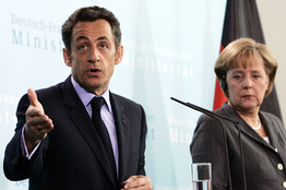 [France's Nicolas Sarkozy with Germany's Angela Merkel]