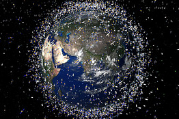 A computer-generated artists impression released by the European Space Agency (ESA) depicts an approximation of 12 000 objects in orbit around the Earth