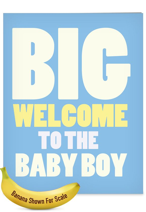 New Baby Boy Funny Baby Extra Large Paper Card