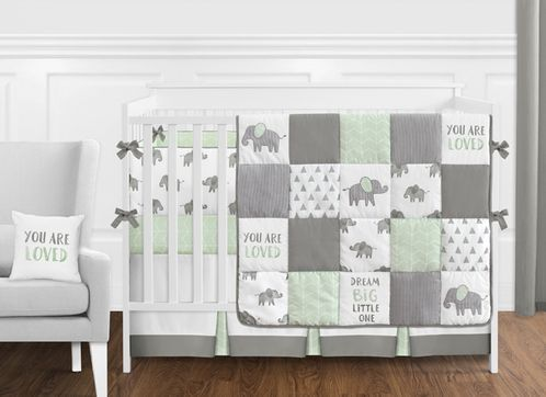 Mint Grey And White Watercolor Elephant Safari Baby Unisex Crib Bedding Set With Bumper By Sweet Jojo Designs 9 Pieces Only 189 99