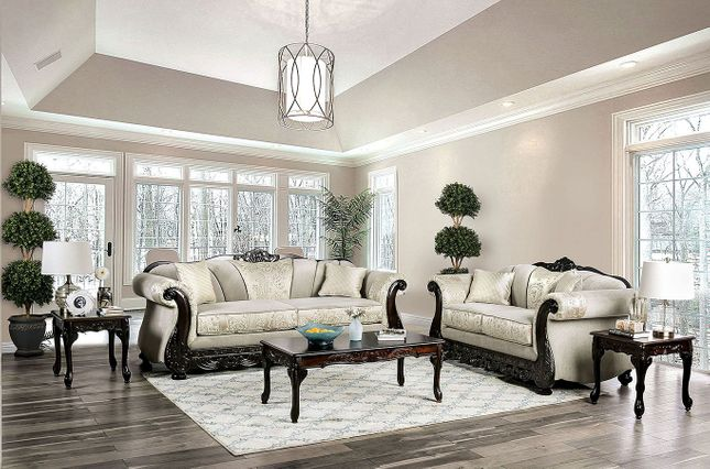 Doncaster Traditional Ivory Off White Living Room Set Pillows Dark Carved Wood