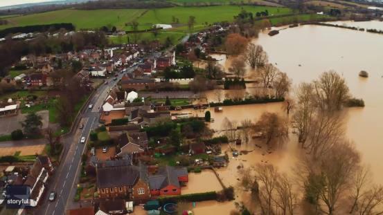 Το Drone Footage απεικονίζει τις πλημμύρες στο Bedfordshire μετά από την καταιγίδα Bella