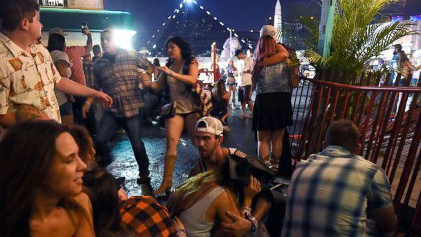 PHOTO: People run for cover at the Route 91 Harvest country music festival after gun fire was heard, Oct. 1, 2017 in Las Vegas. (David Becker/Getty Images)