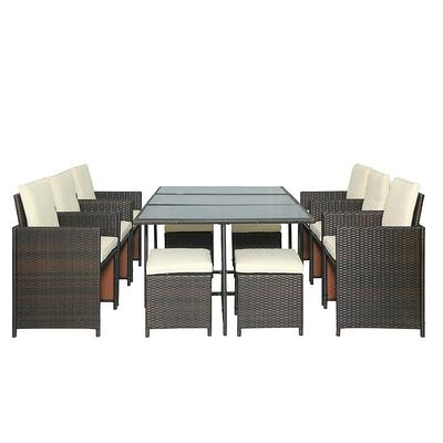 Mondawe 11 Piece Outdoor Rattan Wicker Patio Dining Table Set With Beige Cushions Yahoo Shopping