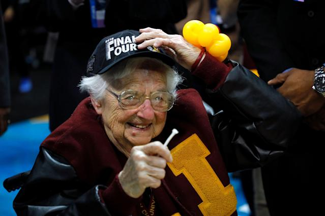Sister Jean became a household name during Loyola-Chicago's run to the Final Four in 2018. (Getty)