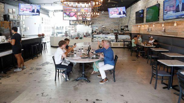 PHOTO: Visitors have lunch at Due Amici Pizza & Pasta Bar in Ibor City on June 26, 2020 in Tampa, Florida (Octavio Jones / Getty Images)