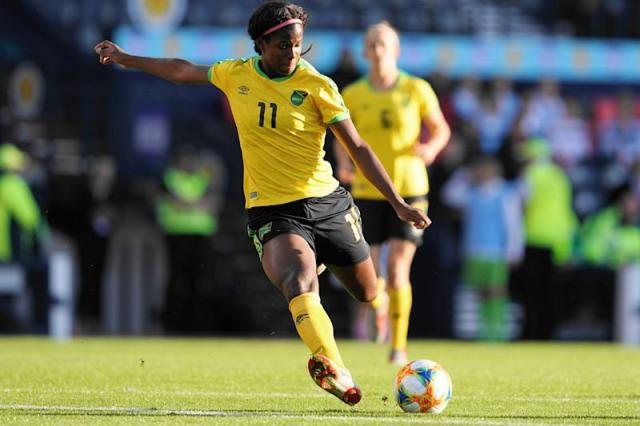 GLASGOW, SCOTLAND - MAY 28: Khadija Shaw of Jamaica scores the first goal for her team during the Women's International Friendly between Scotland and Jamaica at Hampden Park on May 28, 2019 in Glasgow, Scotland. (Photo by Daniela Porcelli/Getty Images)