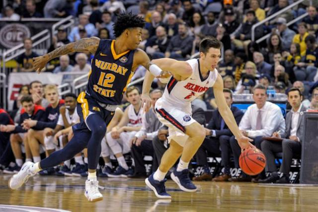 Murray State's Ja Monrant (12) guards Belmont's Grayson Murphy (2) as he drive the ball down the court during the first half of an NCAA college basketball game in the championship of the Ohio Valley Conference basketball tournament, Saturday, March 9, 2019, in Evansville, Ind. (AP Photo/Daniel R. Patmore)