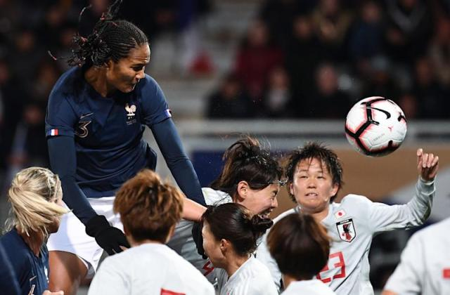 France's defender Wendie Renard heads the ball during the FIFA international friendly football match between France and Japan at the Abbe-Deschamps Stadium in Auxerre, on April 4, 2019. (Photo by FRANCK FIFE / AFP) (Photo credit should read FRANCK FIFE/AFP/Getty Images)