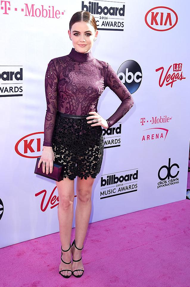 <p>Lingerie inspired was all over the pink carpet and considering temps hovered in the 80s, it was probably a comfortable choice for PLL's Hale.<i><b><br /></b></i></p><p><i>(Photo: Steve Granitz/Getty Images)</i></p>