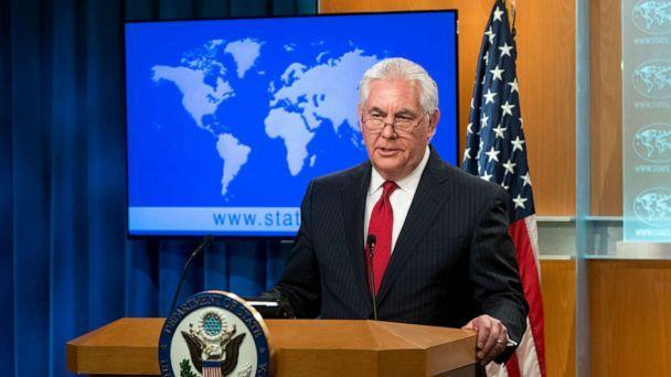 PHOTO: Rex Tillerson, outgoing US Secretary of State makes a statement after his dismissal at the State Department in Washington, D.C. on March 13, 2018. (Saul Loeb/AFP/Getty Images)