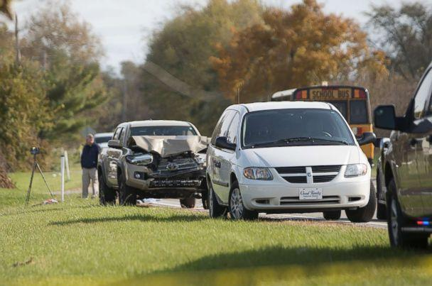 PHOTO: Emergency personnel responded to a scene of a collision that killed three children crossing SR 25 as they were boarding their school bus north of Rochester, Ind., Oct. 30, 2018. (Santiago Flores/South Bend Tribune via AP)