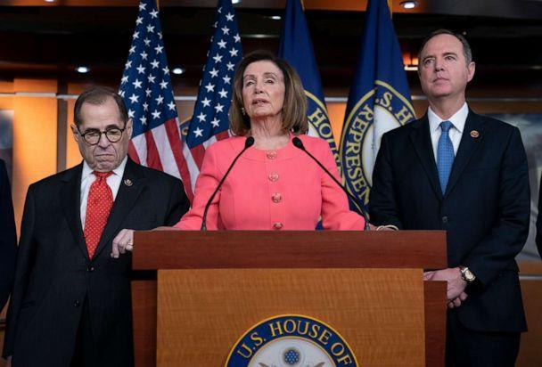 PHOTO: House Speaker Nancy Pelosi, flanked by Rep. Jerrold Nadler, left, and Adam Schiff, during a press conference to announce impeachment officials at the Washington Capitol, January 15, 2020. (J. Scott Applewhite / AP)