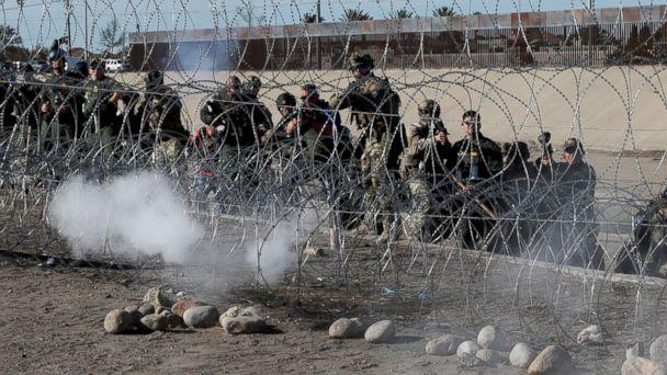PHOTO: U.S. soldiers and U.S. border patrol officers fire tear gas towards migrants from the U.S.side of the border fence between Mexico and the United States in Tijuana, Mexico, Nov. 25, 2018. (Kim Kyung-Hoon/Reuters)