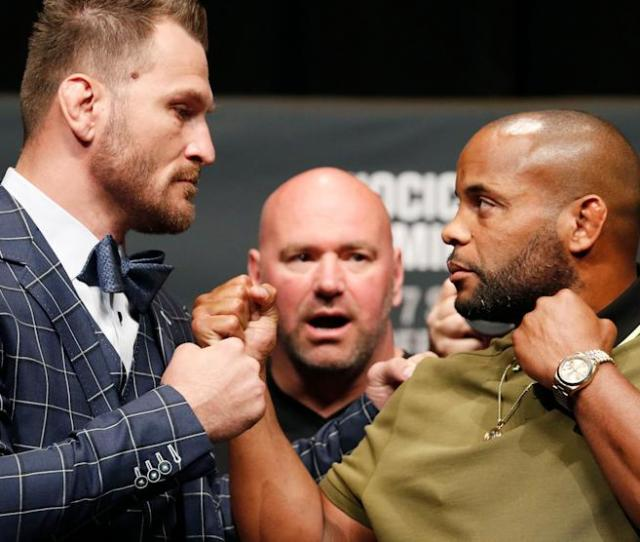 Stipe Miocic Left And Daniel Cormier Pose During A News Conference For Ufc 226