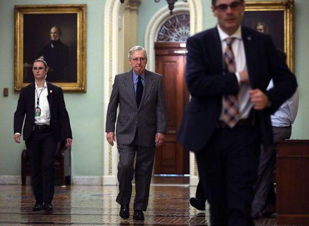 NOTICE: Senate Majority Sen Senator Mitch McConnell arrives in the US Capitol, 15 January, 2020, in Washington. (Alex Wong / Getty Images)