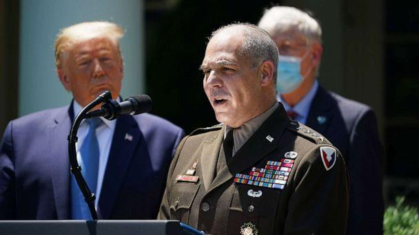 PHOTO: Commander of Army Material Command Gen. Gustave Perna speaks on vaccine development, May 15, 2020, in the Rose Garden of the White House, in Washington. (Mandel Ngan/AFP via Getty Images)