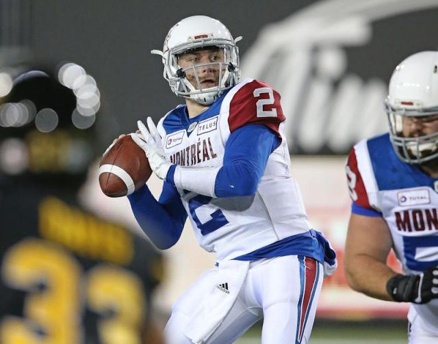 HAMILTON, ON - NOVEMBER 3: Johnny Manziel #2 of the Montreal Alouettes fires a pass against the Hamilton Tiger-Cats in a CFL game at Tim Hortons Field on November 3, 2018 in Hamilton, Ontario, Canada. (Photo by Claus Andersen/Getty Images)