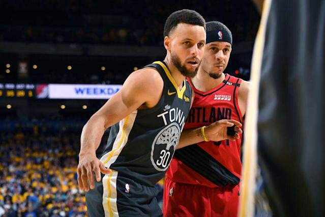 Stephen Curry's 37 points spoiled his brother Seth's career playoff performance. (Getty Images)
