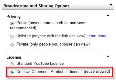Screen shot of upload options