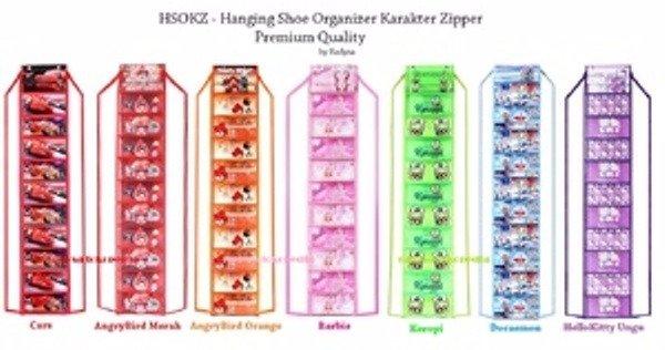 HARGA HEMAT Hanging Shoes Organizer Karakter Zipper Rak Sepatu Gantung