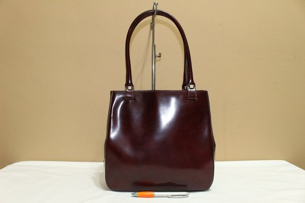 Tas branded SALVATORE FERRAGAMO SF86 Red maroon patent leather second bekas original asli