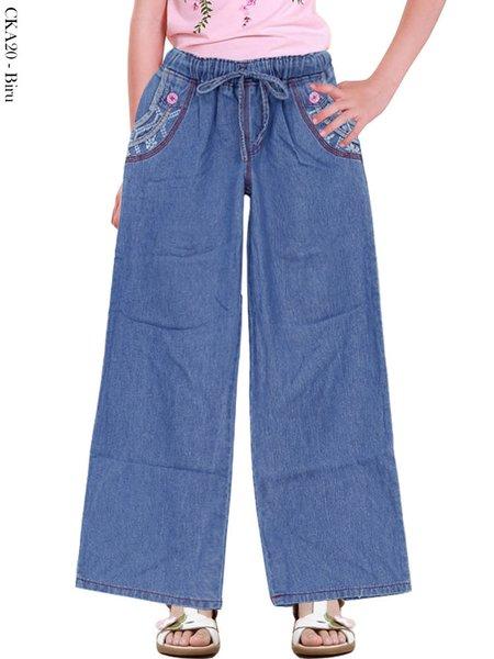 Celana Kulot Jeans Anak - Celana Panjang Anak Karet Pinggang