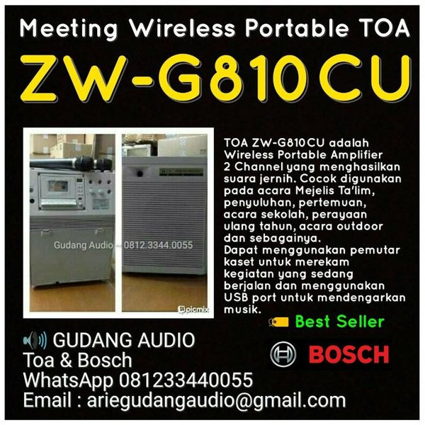 Portable Wireless Amplifier Toa Zwg-810Cu