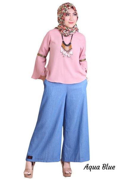 Bawahan Celana Kulot Wanita Rocella Raline - Celana Kulot Bahan Denim Model Terbaru Big Size Polos
