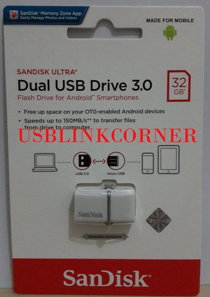 Flashdisk SanDisk Ultra USB 3.0 32GB Dual Drive OTG - WHITE