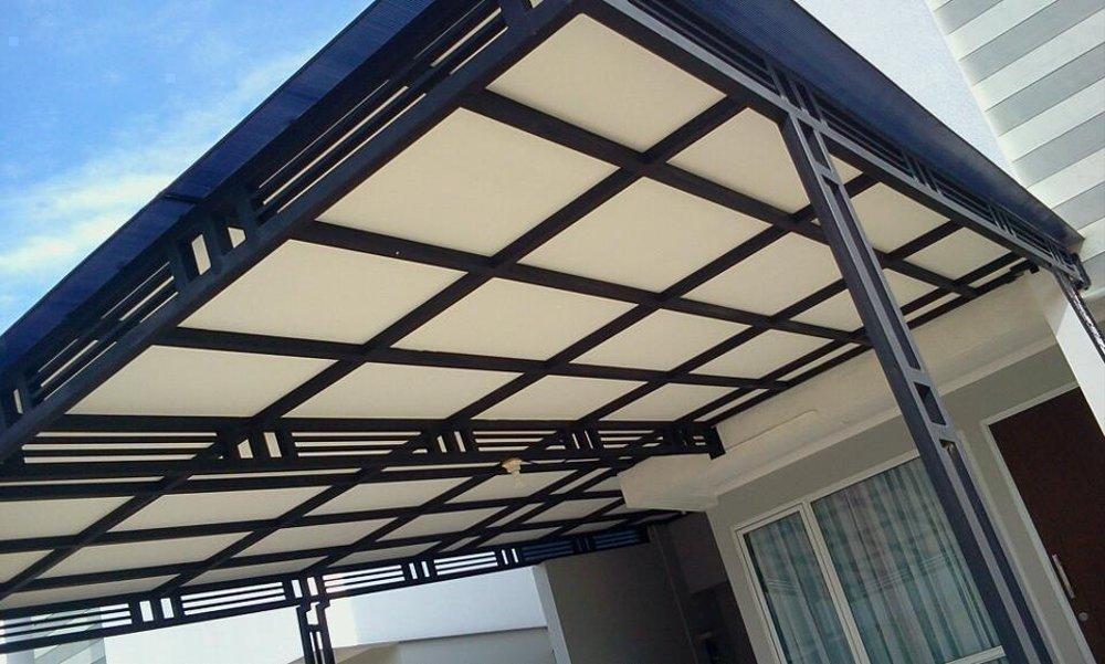 harga kanopi besi vs baja ringan jual minimalis atap solite polycarbonate di lapak jaya las
