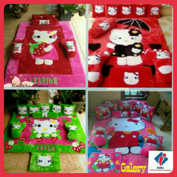 karpet karakter hello kitty full set bulu rasfur 200x140x5cm