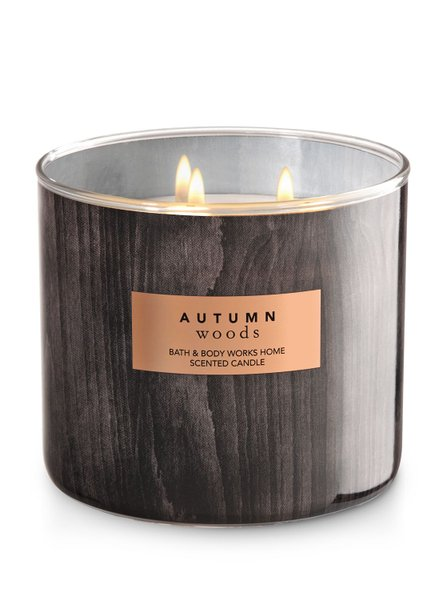 Lilin Bath & Body Works BBW AUTUMN WOODS 3-Wick Scented Candle 411 g