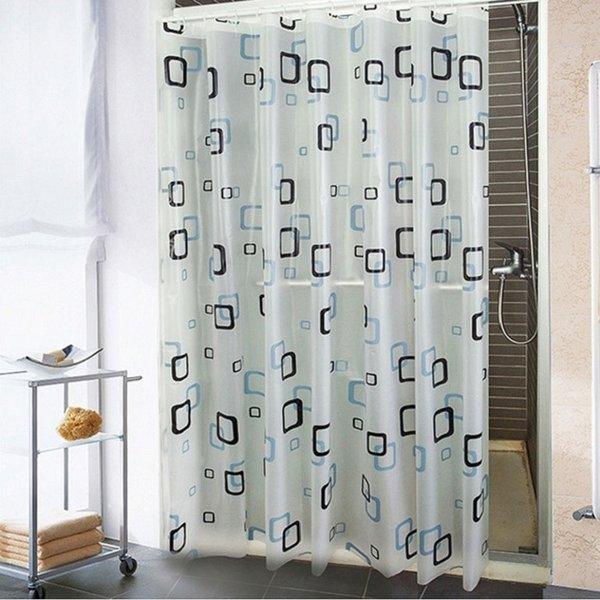 GROSIR Motif Kotak Kecil Shower Curtain Tirai Gorden Kamar Mandi Tahan Air