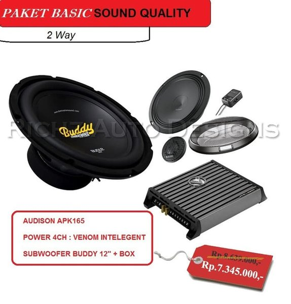 paket audio mobil speaker Audison ampli Venom Subwoofer Buddy