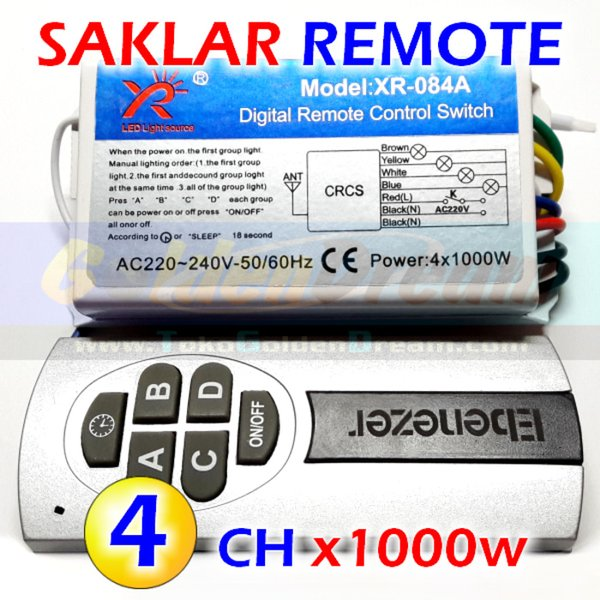HQ   Saklar Remote 4x 1000w Wireless Switch AC 220v 4 Channel RF Remot Murah