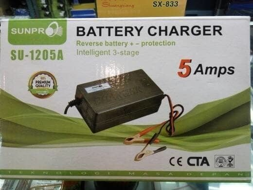 Charger Aki accu Motor Mobil Sunpro SU-1205A 5Amps Battery Charger