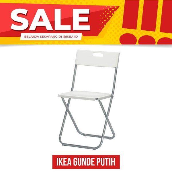 IKEA GUNDE Kursi lipat putih BEST FURNITURE