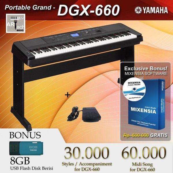 Spesial Yamaha DGX 660 DGX 660 DGX660 Black White Digital Piano