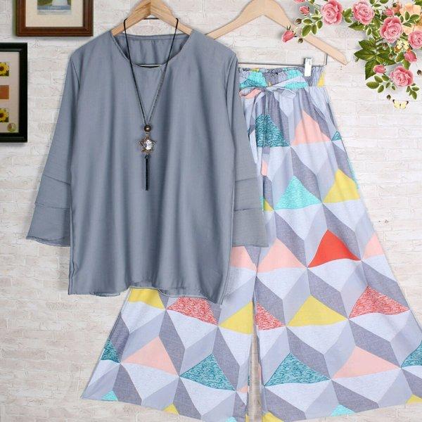 milea setelan blouse atasan and celana kulot panjang