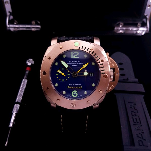 Jam Tangan Luminor Submersible GMT Panerai Pole 2 Pole Automatic Leather Black Rosegold Best Version Clone