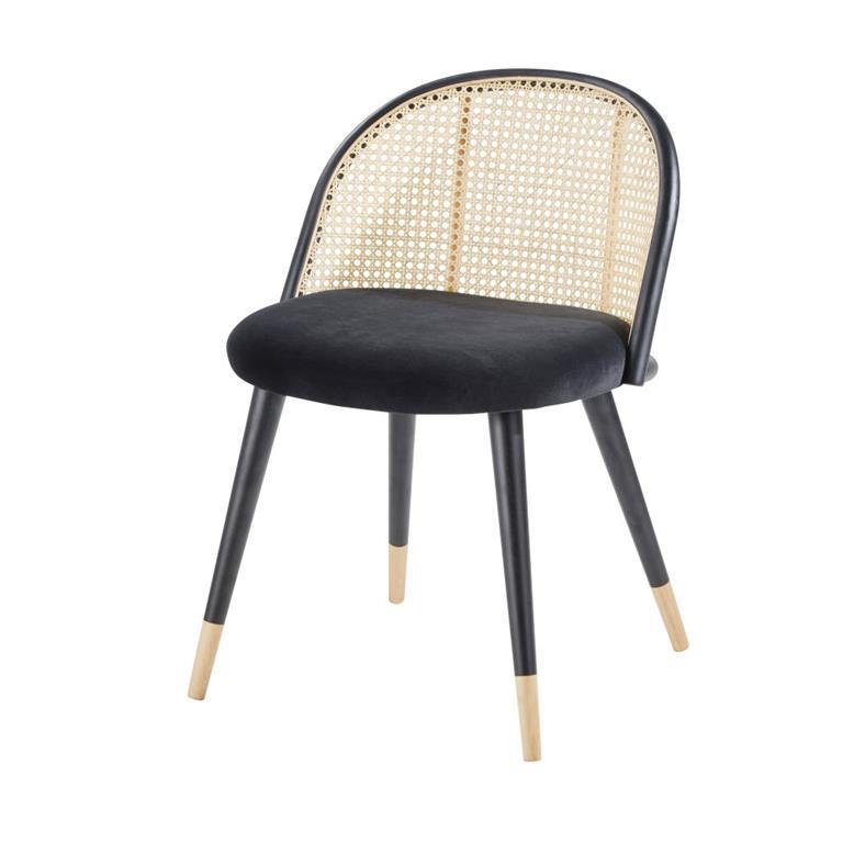 chaise vintage noire cannage en rotin